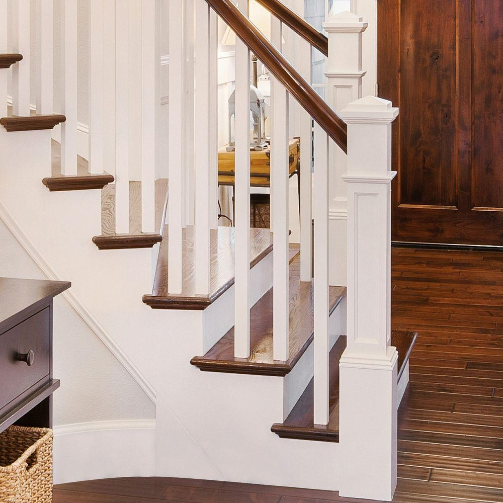 Stair Parts 4093 55 In X 6 25 In Poplar Flat Panel Box Newel | Poplar Stair Treads Home Depot | Newel Cap | 000 0000L | Quarter Turn | Baluster | Rosette