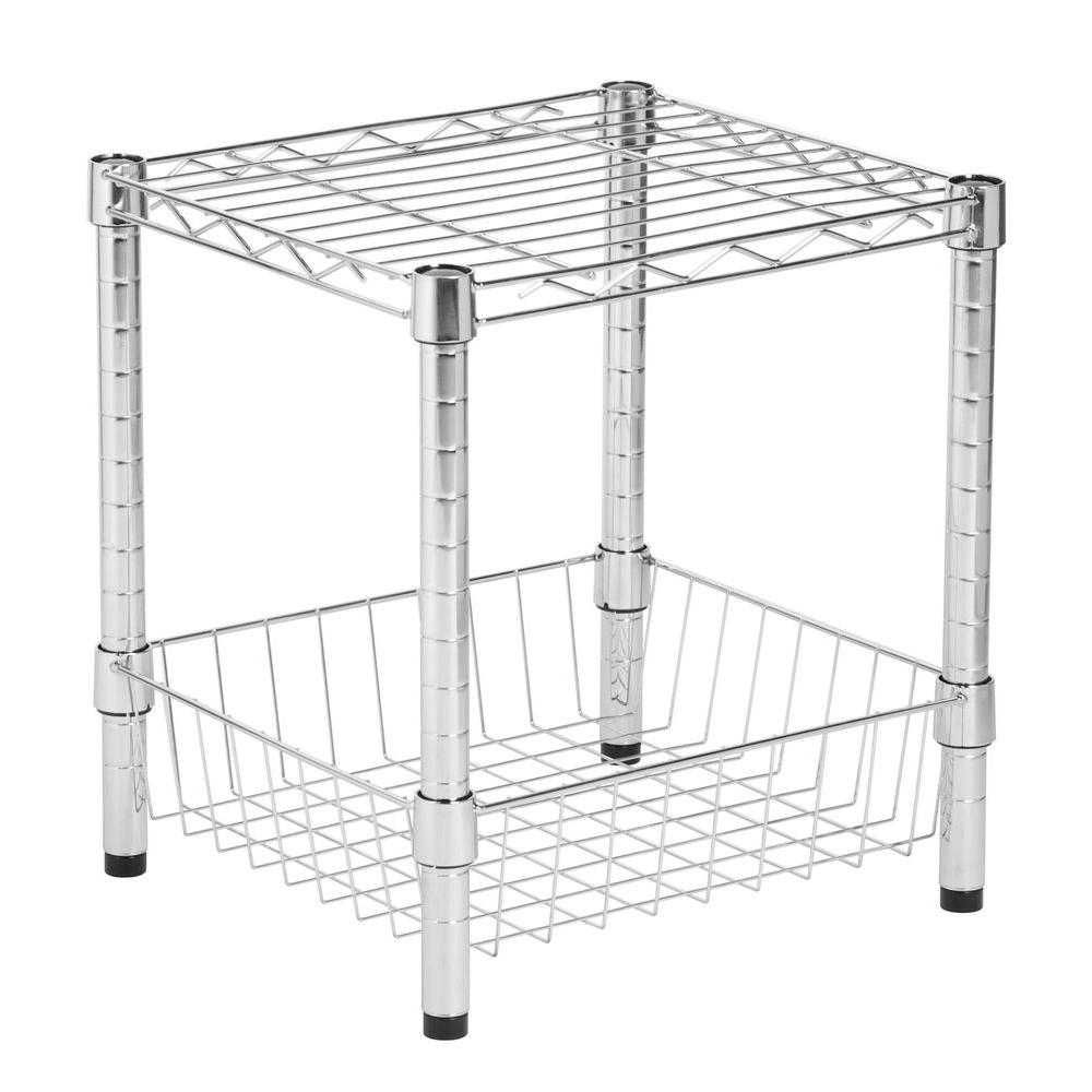 Honey-Can-Do Commercial Metal Table with Basket in Chrome