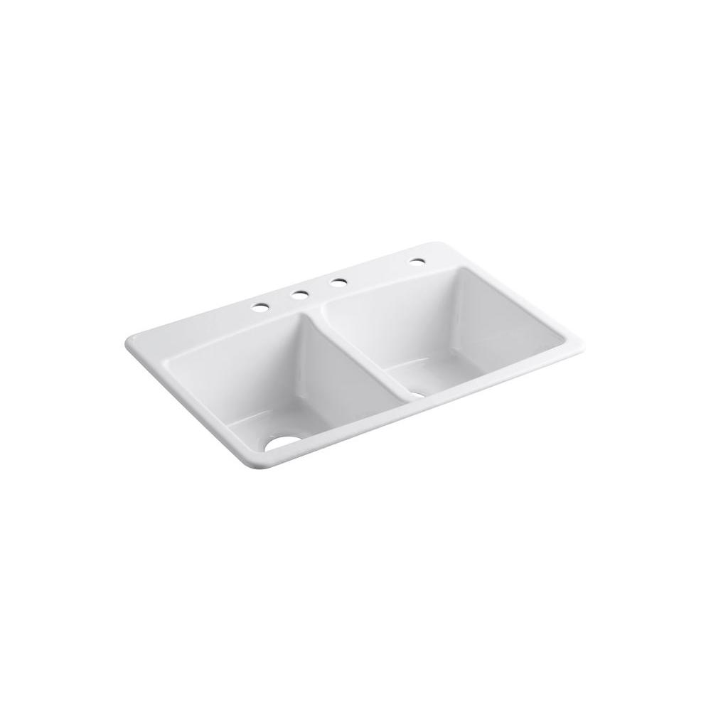kohler kitchen sink outdoor islands brookfield drop in cast iron 33 4 hole double bowl