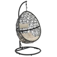 Indoor Hanging Egg Chair With Stand Best Office For Posture Reddit Sunnydaze Decor Caroline Resin Wicker Outdoor Patio Lounge And Beige Cushions