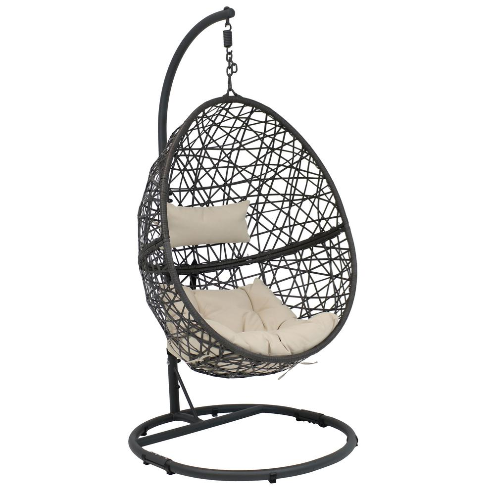 Hanging Patio Chair Sunnydaze Decor Caroline Resin Wicker Indoor Outdoor Hanging Egg Patio Lounge Chair With Stand And Beige Cushions