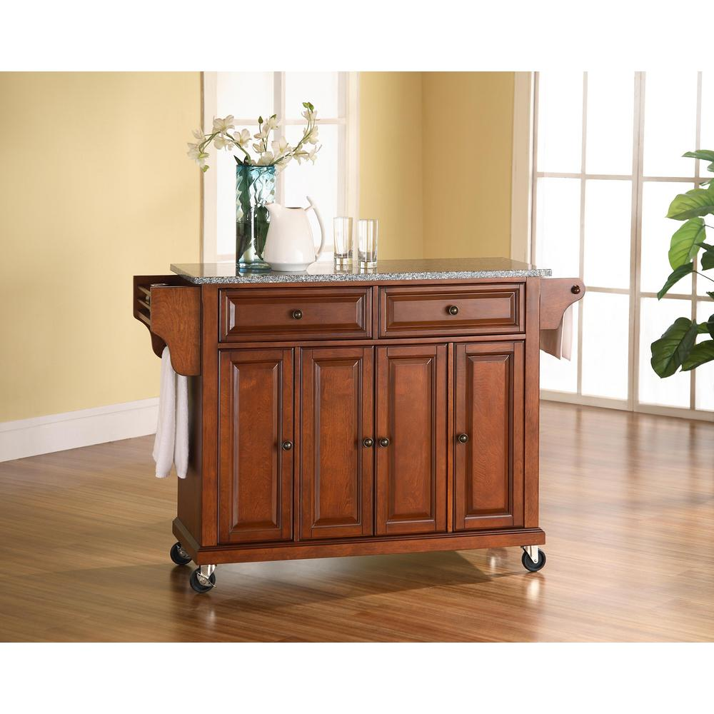 cherry kitchen cart countertop crosley with granite top kf30003ech the home depot