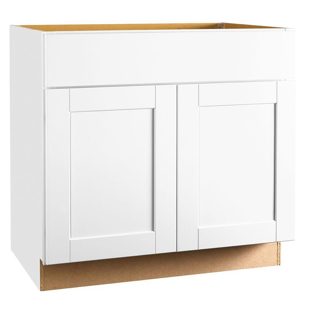 kitchen sink base cabinet sizes corner dining bench hampton bay shaker assembled 36x34 5x24 in satin white