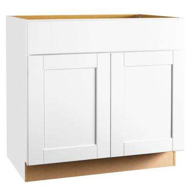 sink kitchen cabinets pendant lights base the home depot shaker assembled 36x34 5x24 in cabinet satin white