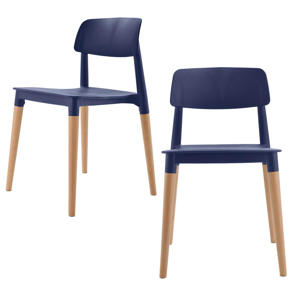 modern accent chairs folding bar stool cozyblock bel series navy dining side chair with beech wood leg set of 2