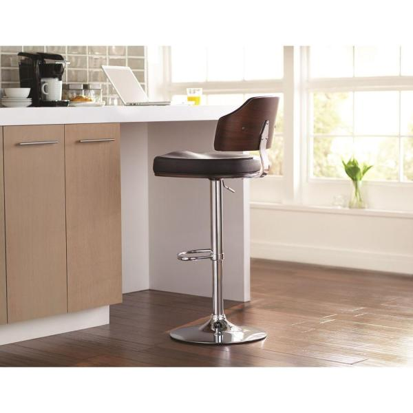 Home Decorators Collection Classic Laminated Wood Bar Stool In Walnut And Black-cnf1259