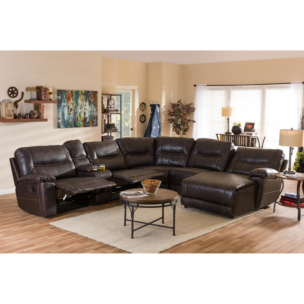 leather sectional sofas costco chaise lounge sofa baxton studio mistral 6 piece contemporary tan faux this review is from brown upholstered right facing chase