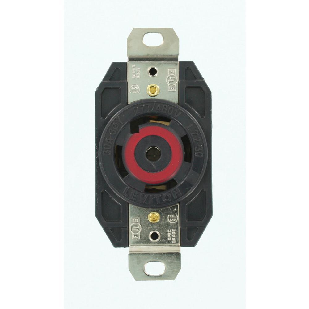 medium resolution of leviton 30 amp 277 480 volt 3 phase flush mounting grounding locking outlet
