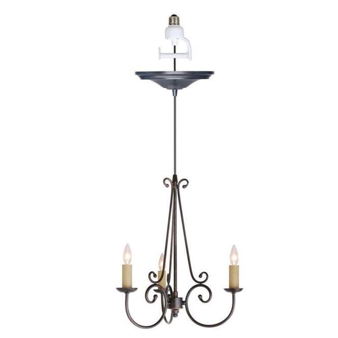 Rogen 3 Light Oil Rubbed Bronze Small Instant Chandelier Conversion Kit