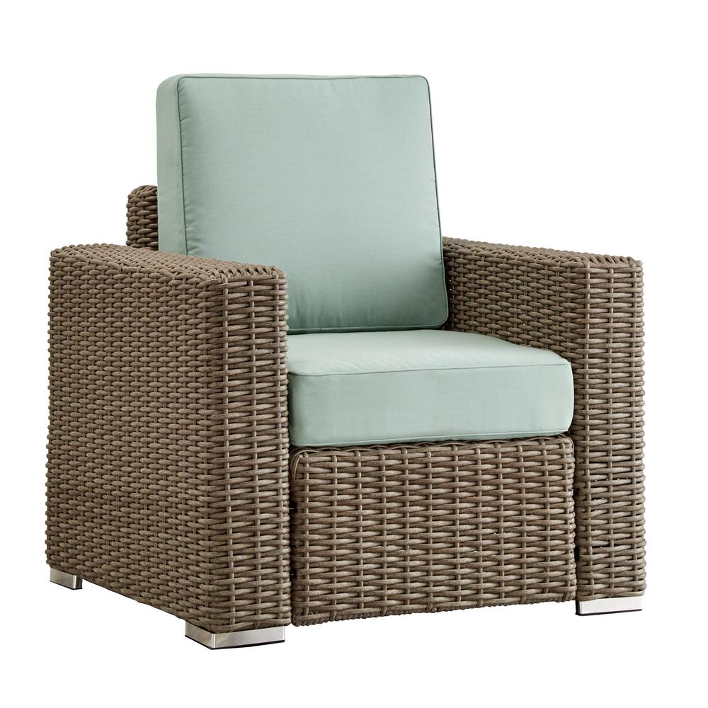 comfortable wicker chairs chair cover rentals uk homesullivan camari mocha square arm outdoor patio lounge with blue cushion