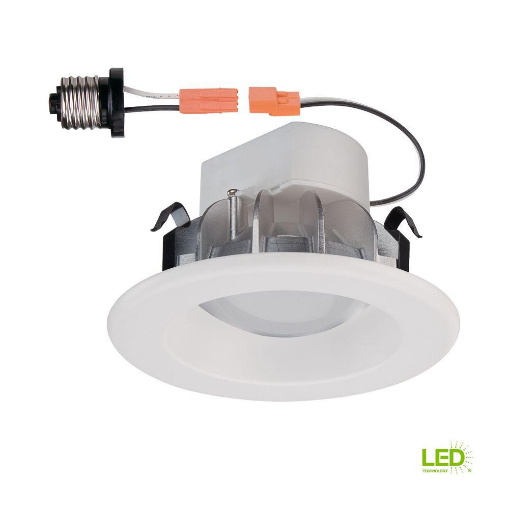 Commercial Electric 4 in White Integrated LED Recessed