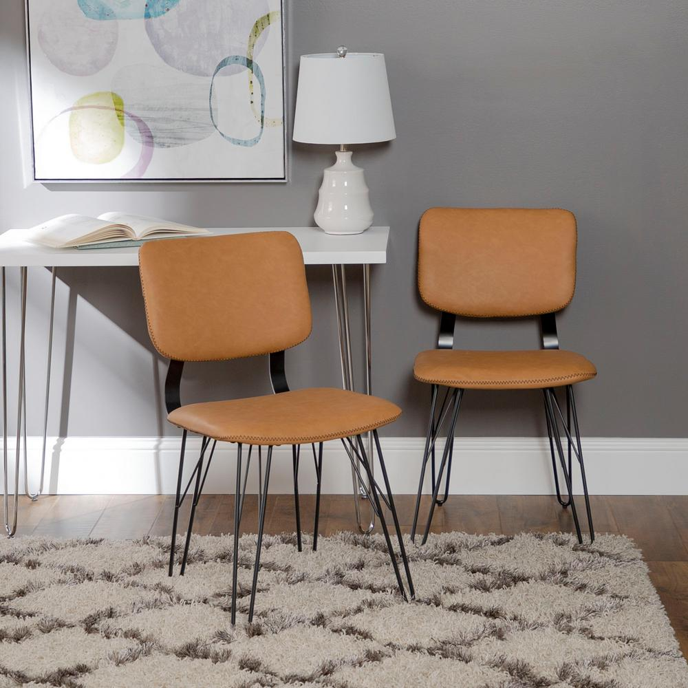 accent dining chairs upholstered computer chair walker edison furniture company flax back tan with black stitching 2