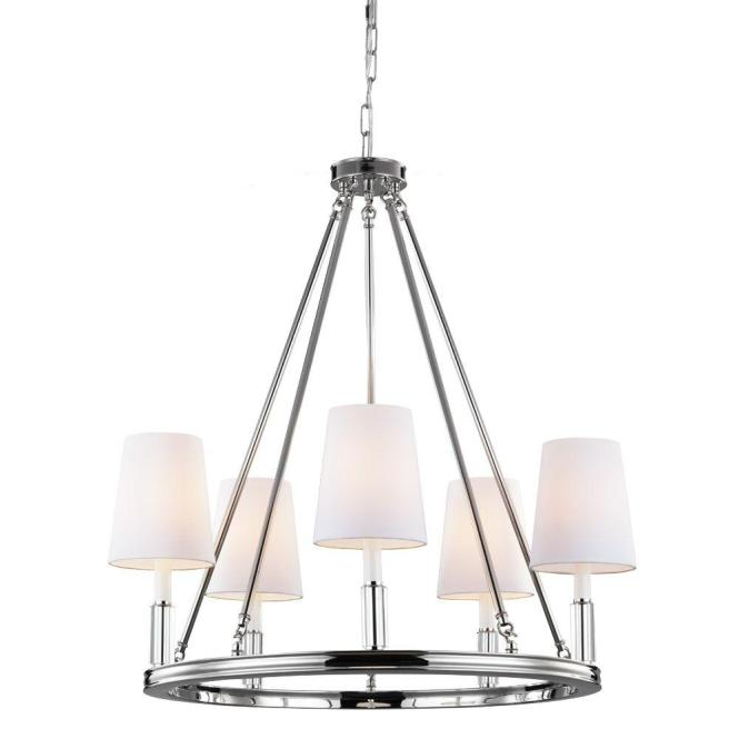 Feiss Lismore 5 Light Polished Nickel Chandelier With Fabric Shade