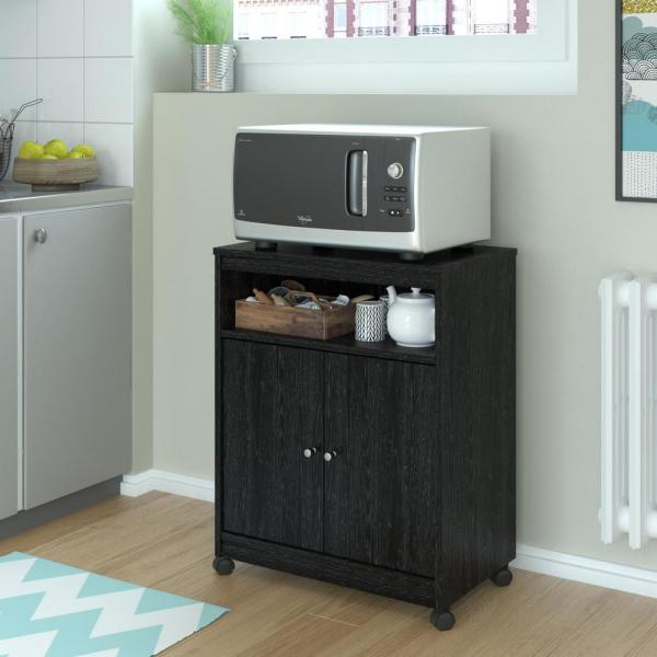 Altra Furniture Landry Black Ebony Ash Microwave Cart