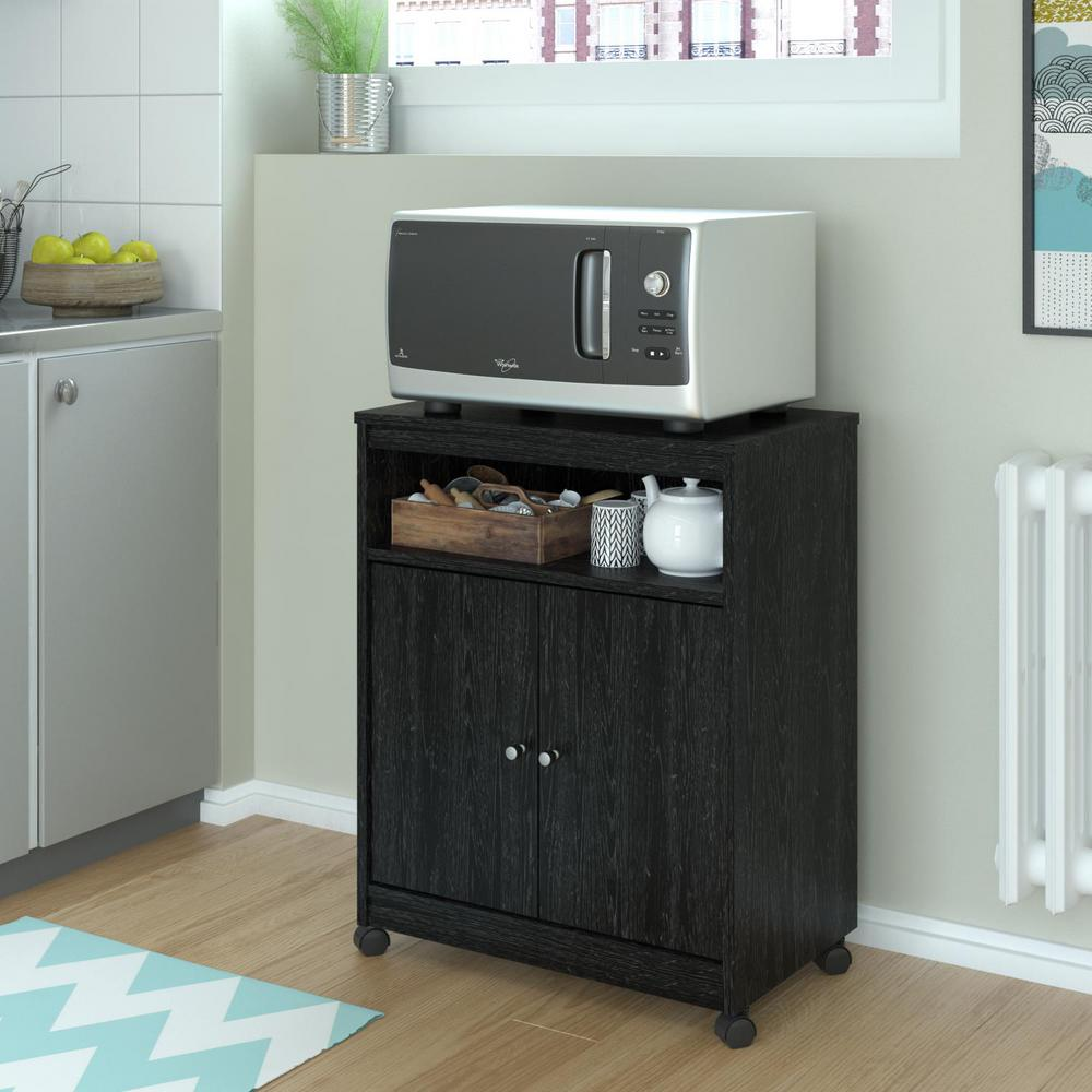 kitchen microwave cart floors for kitchens ameriwood shelton black ebony ash hd42811 the home