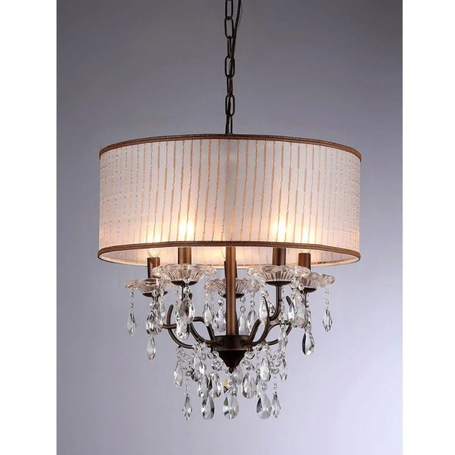 Warehouse Of Tiffany Scott 6 Light Antique Bronze Chandelier With Shade Rl8072 The Home Depot