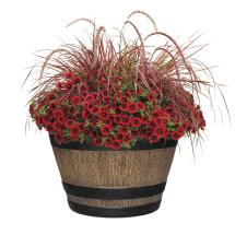 Whiskey Barrel Planter Brown Large Durable Resin Plants