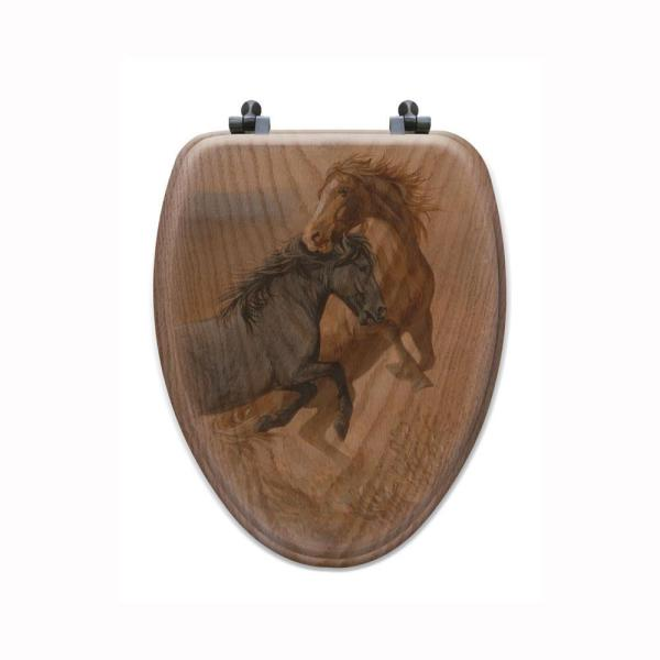 Challenged Elongated Closed Front Wood Toilet Seat In Oak