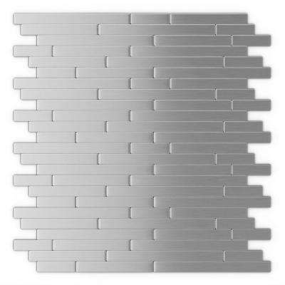 home depot backsplash tiles for kitchen cabinet stand alone tile backsplashes the linox stainless steel 12 09 in x 11 97 5 mm brushed metal self