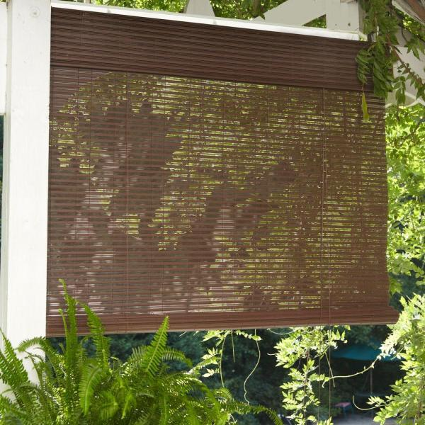 Designview Chestnut Exterior Corded Roll Shade - 96 In. X 84 L-0326011 Home Depot