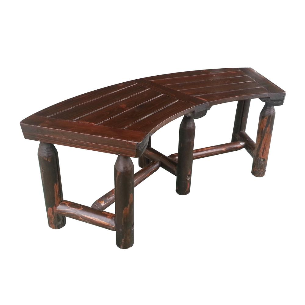 leigh country char log 50 in wood curved outdoor patio bench tx 94017 the home depot