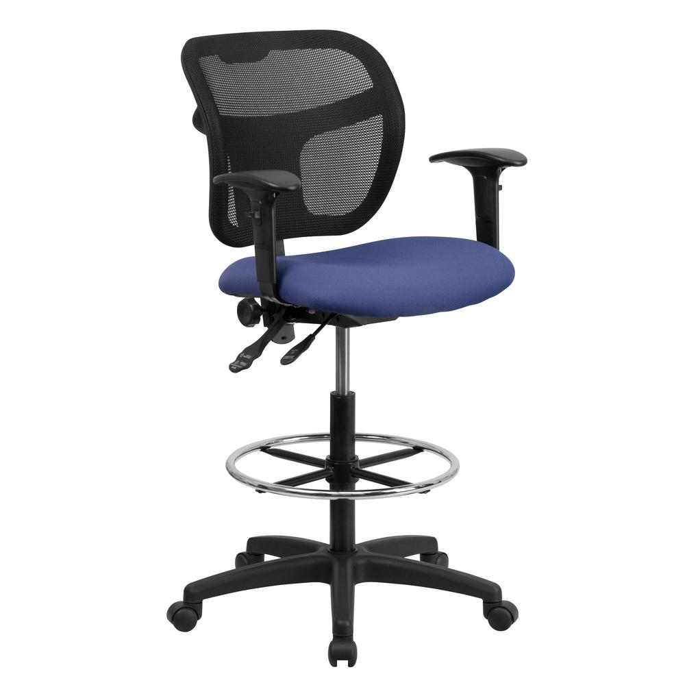 mesh drafting chair white folding covers bulk flash furniture mid back with navy blue fabric seat and height adjustable