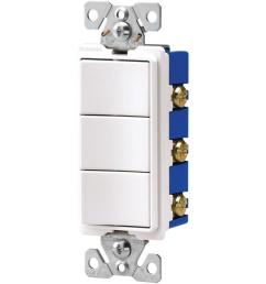 eaton 15 amp three single pole combination decorator light switch white [ 1000 x 1000 Pixel ]