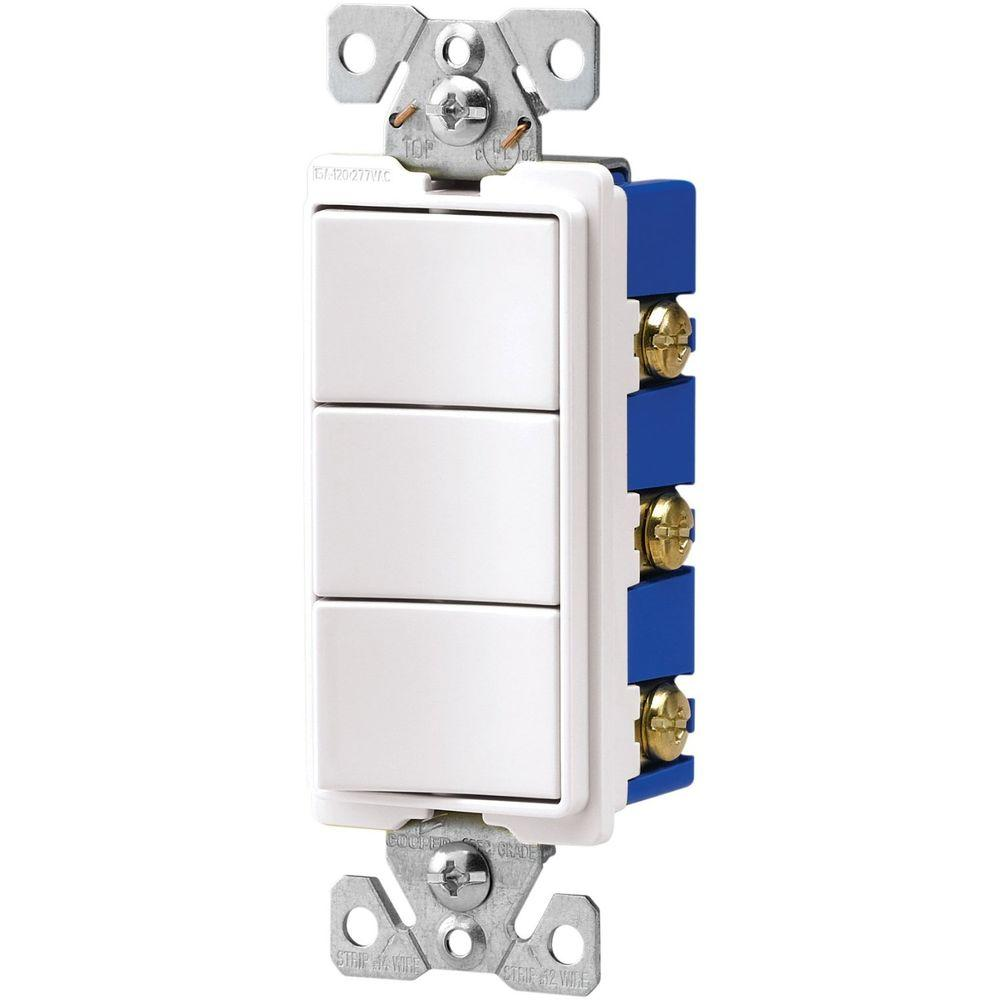 medium resolution of eaton 15 amp three single pole combination decorator light switch white