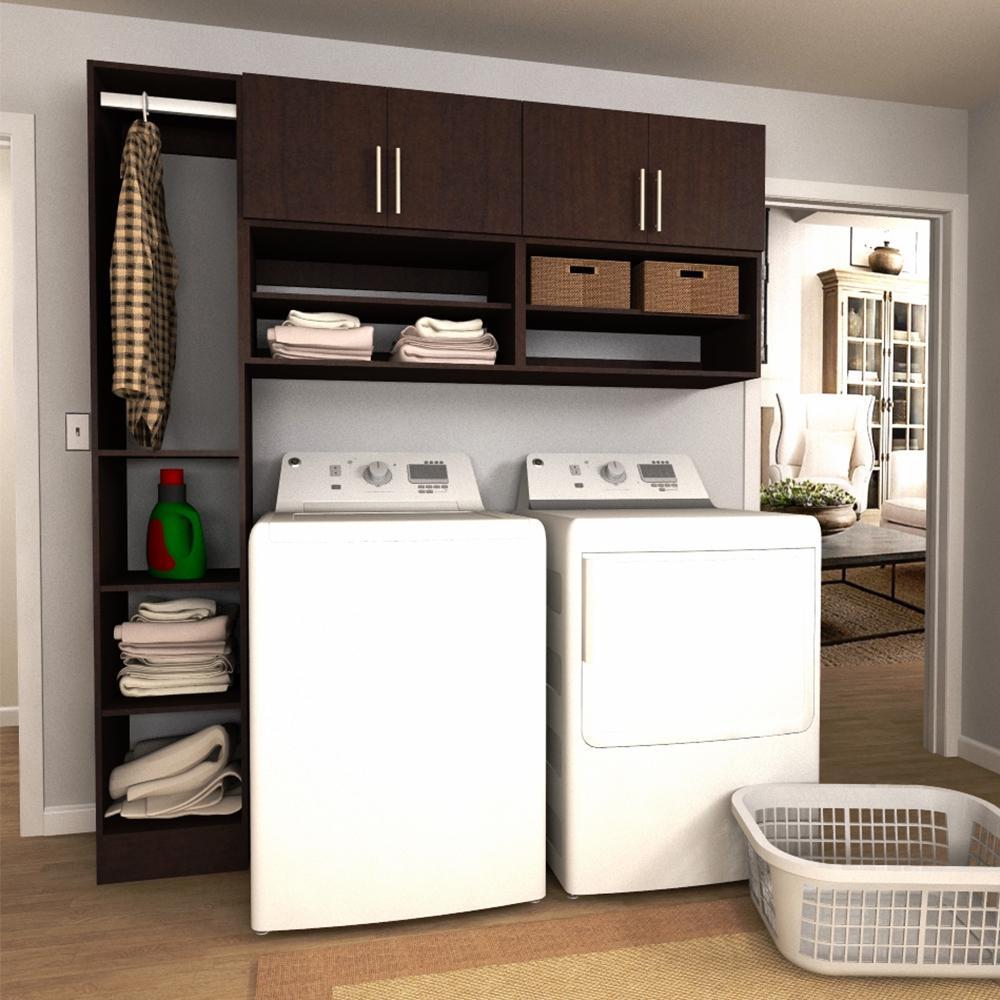 Modifi Horizon 75 in W Mocha Open Shelves Laundry Cabinet