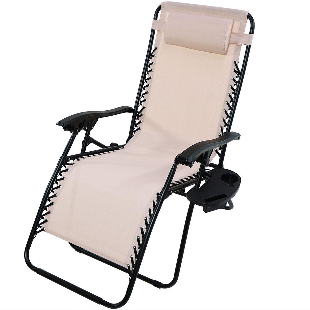 Zero Gravity Outdoor Lounge Chair Sunnydaze Decor Oversized Beige Zero Gravity Sling Patio Lounge Chair With Cupholder