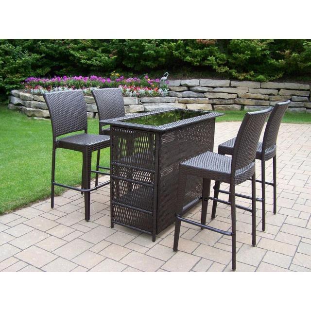 oakland living elite resin wicker 5-piece patio bar set-90053-90054