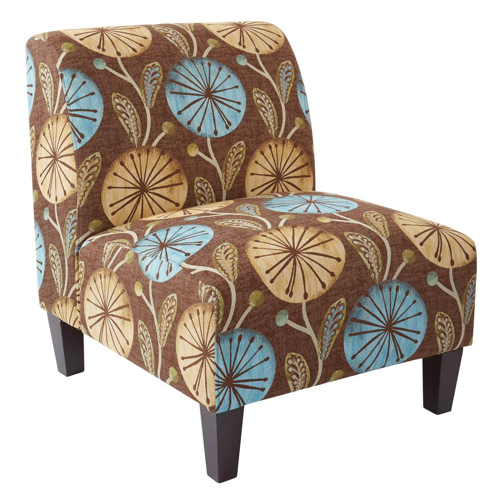 aqua accent chair comfortable for reading ave six magnolia dandelion fabric and solid wood legs