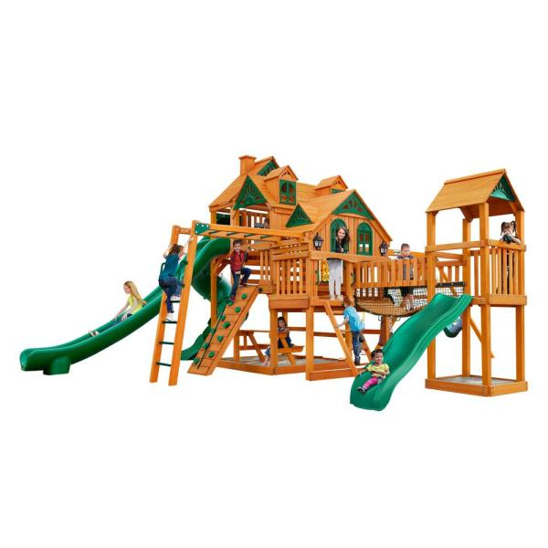 Gorilla Playsets Empire Extreme Wooden Playset With Monkey Bars And Clatter Bridge-01-0090-ap