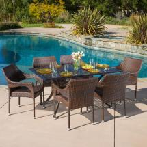 Noble House Cliff Bronze And Mixed Brown 7-piece Aluminum
