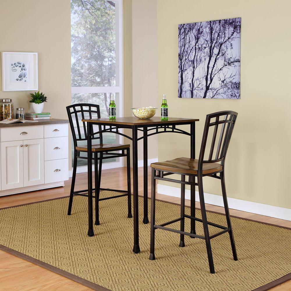 3 piece kitchen set extractor home styles modern craftsman deep brown bar table 5050
