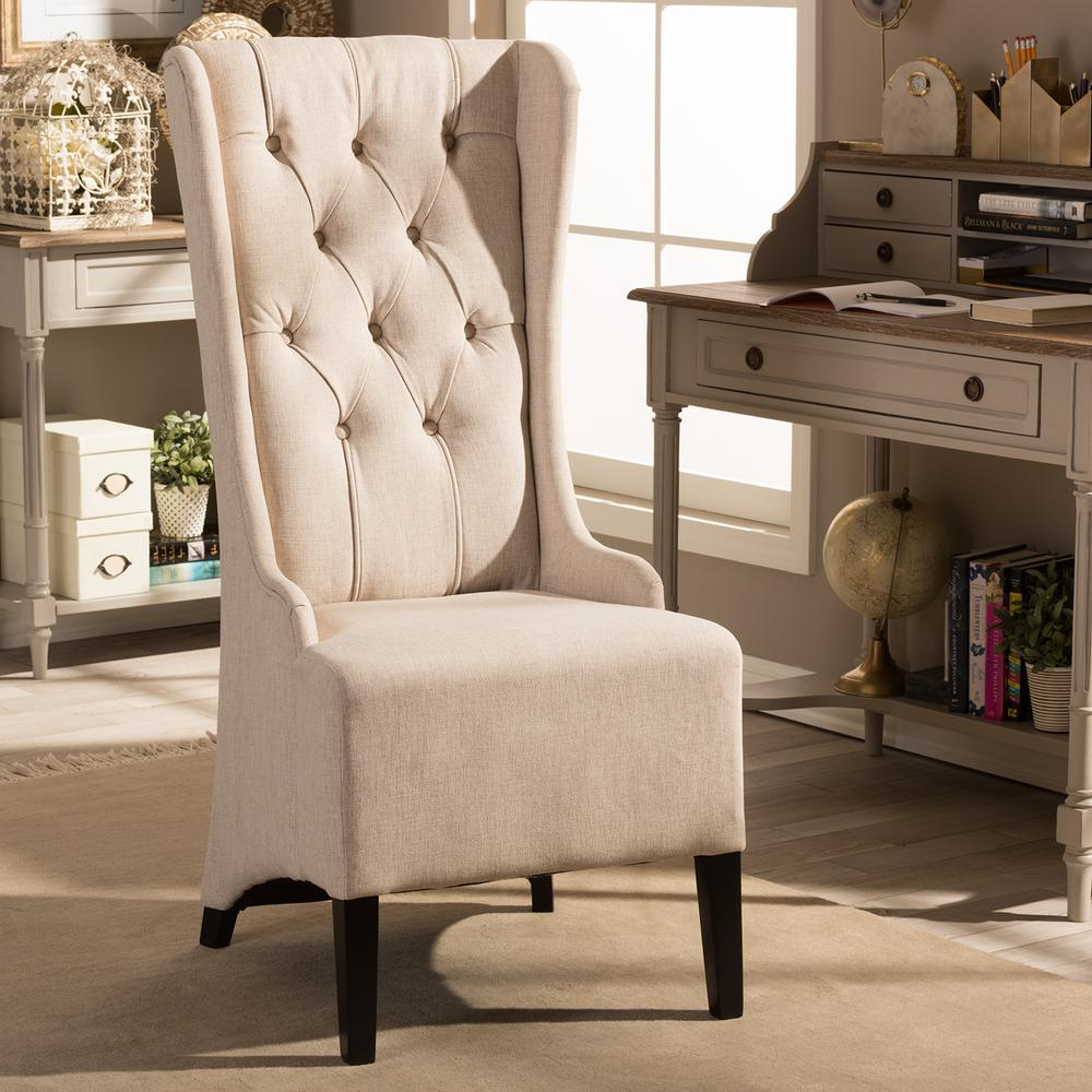 Accent Chair Living Room Vincent Beige Fabric Upholstered Accent Chair
