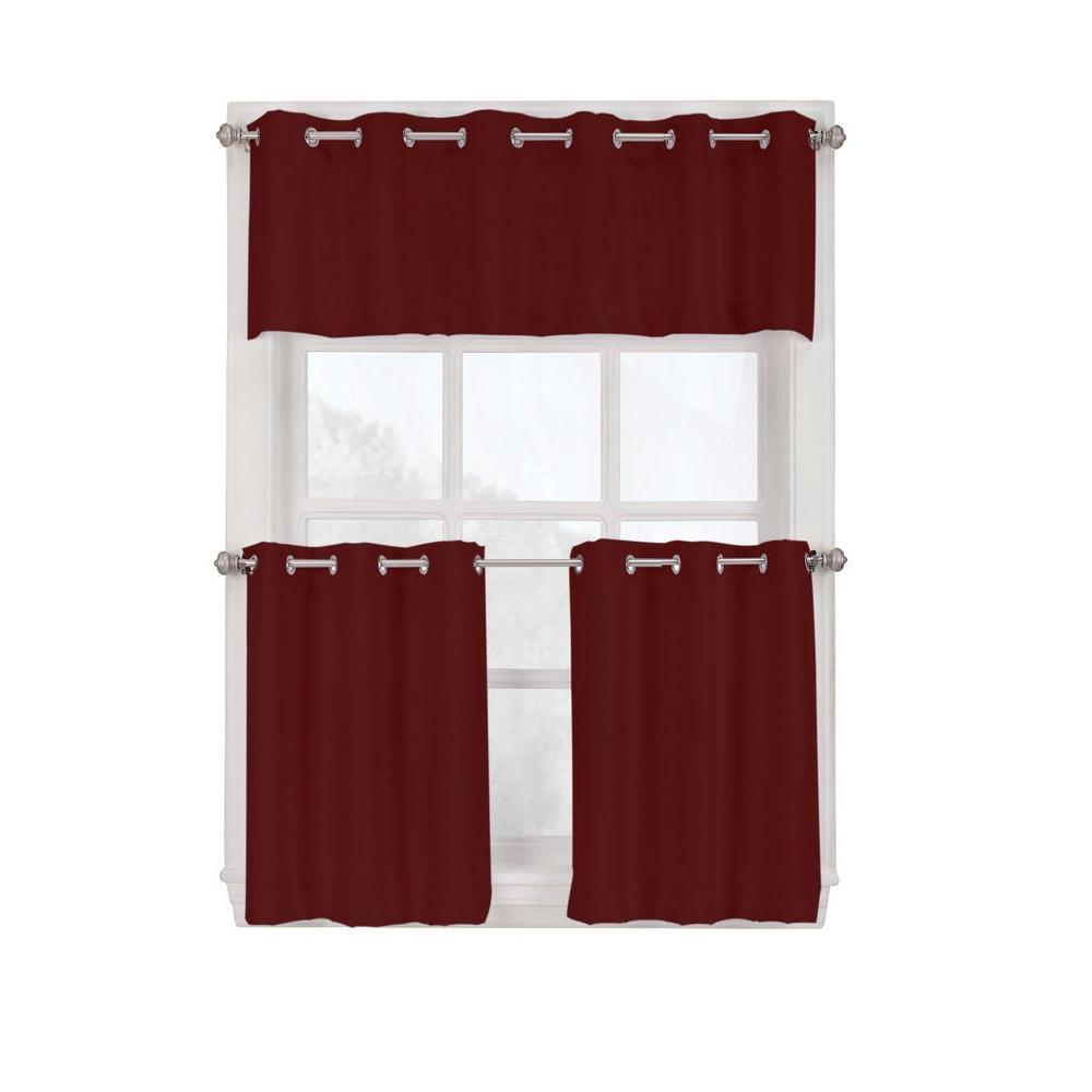 grommet kitchen curtains low flow faucet lichtenberg semi opaque paprika montego curtain tiers 56 in w x