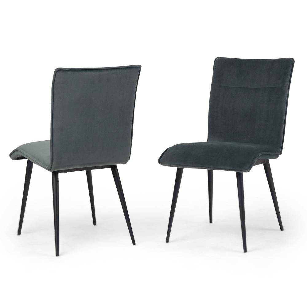 Simpli Home Wilder Deep Green Velvet Contemporary Dining Chair Set Of 2 Axcwld 01dg The Home Depot