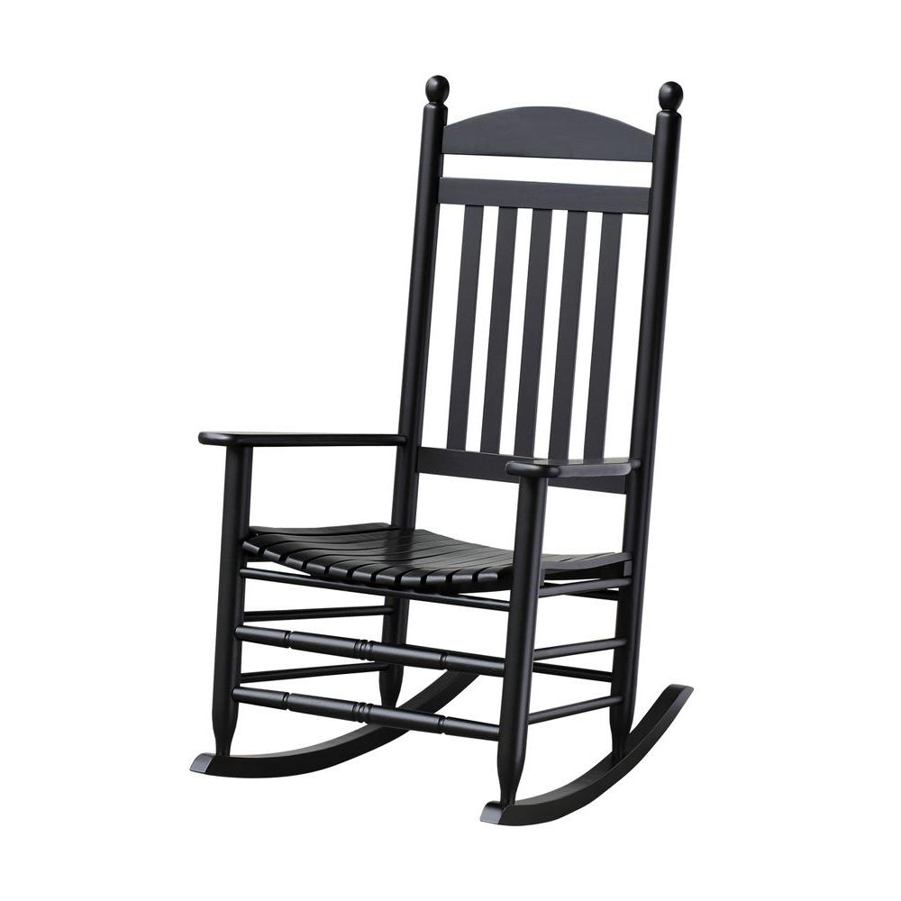 metal rocking chair runners booster seat kmart bradley black slat patio 200sbf rta the home depot