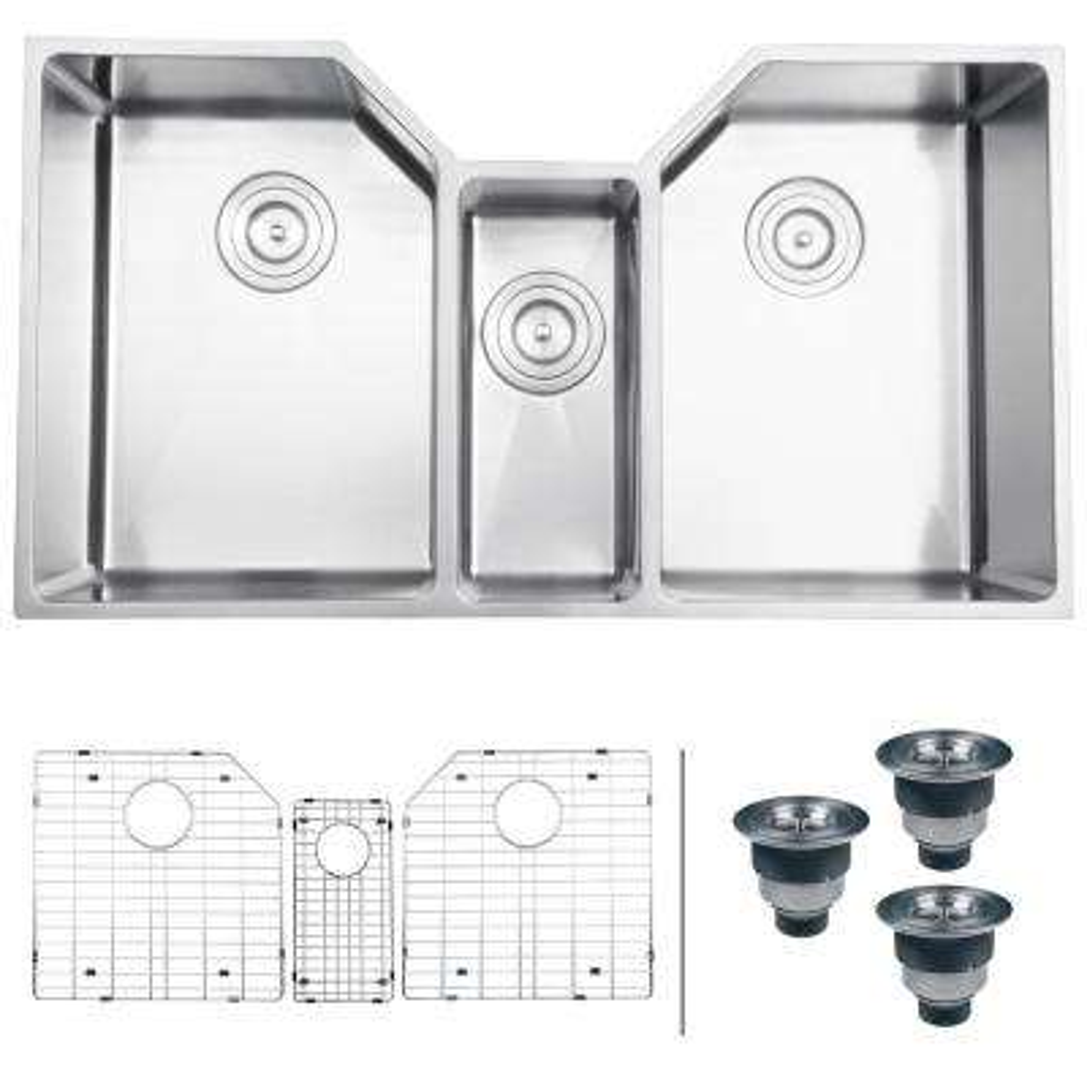 triple sink kitchen delta faucet spray head sinks the home depot 16 gauge bowl