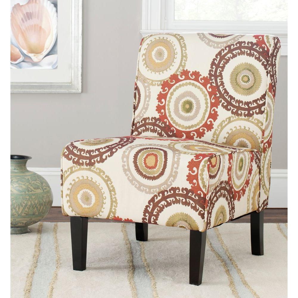 brown slipper chair wooden garden chairs b q safavieh marka multi color mcr1004a the home depot