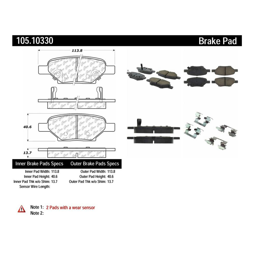 hight resolution of centric disc brake pad set 105 10330 the home depot 2008 chevy hhr engine diagram