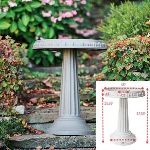 Bird Bath Fountain Durable Resin Plastic Frost Proof Two