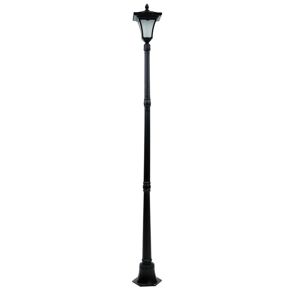 hight resolution of single head black flickering candle light outdoor solar lamp post
