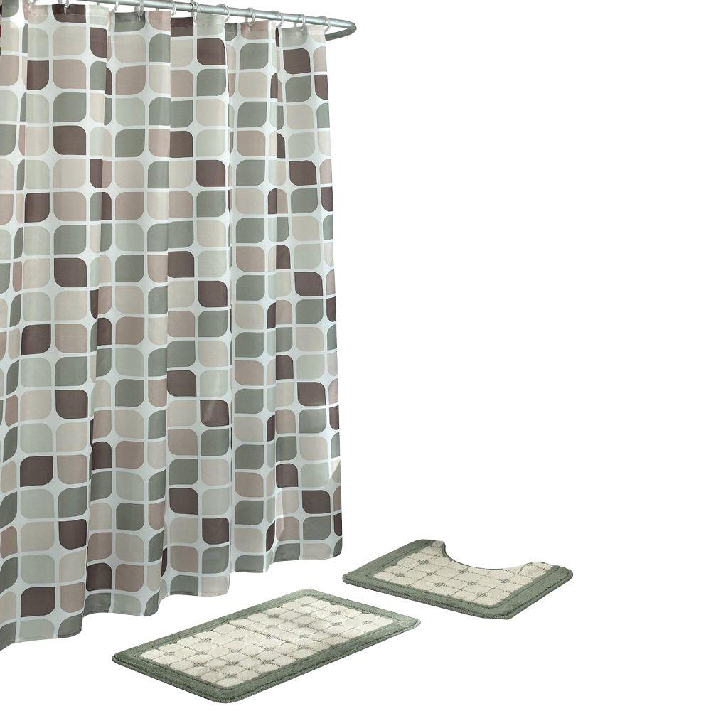 Bathroom Shower Curtain Bath Fusion Zaragoza Sage Berber 15 Piece Bath Rug And Shower Curtain Set
