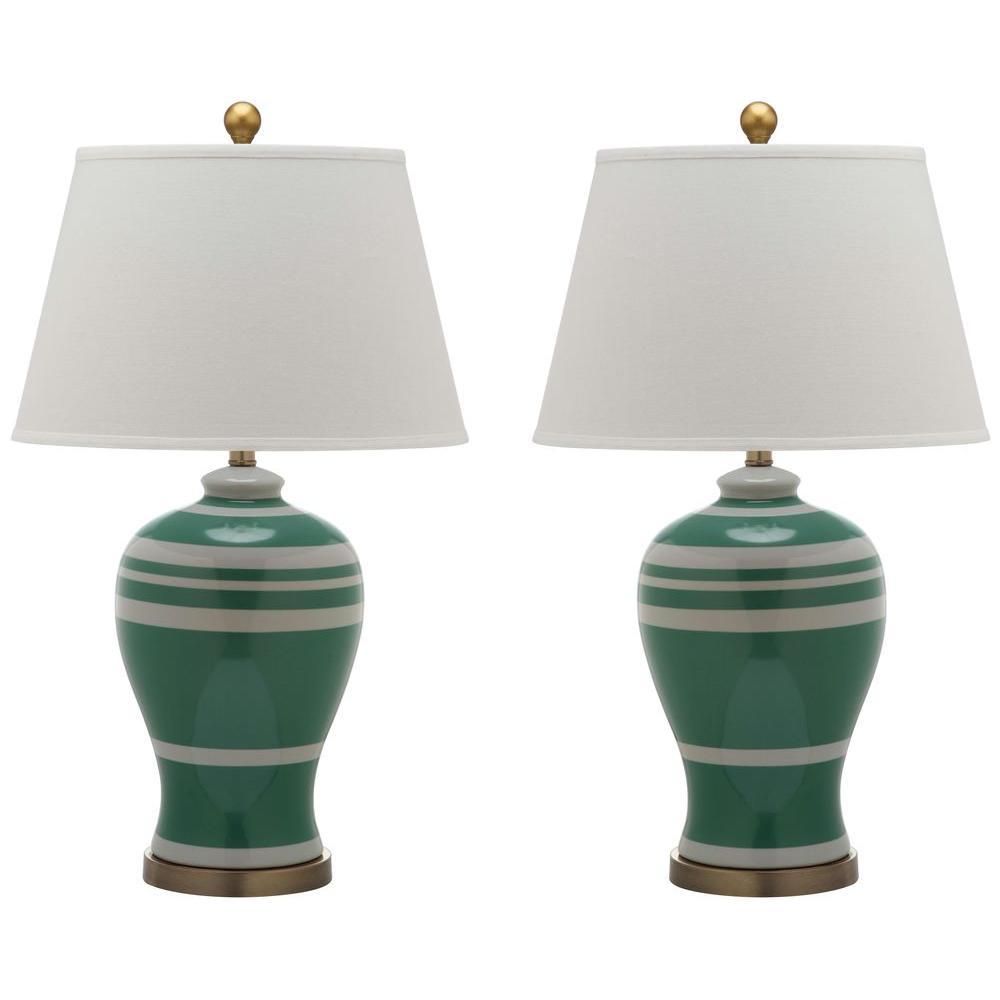 Safavieh 29 in. Green Pottery Stripe Ginger Jar Lamp (2