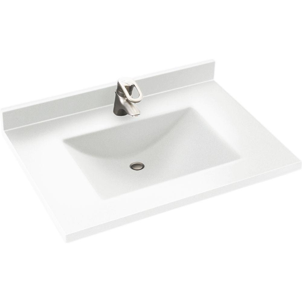 swanstone single bowl kitchen sink aid pasta press swan contour 31 in. w x 22 d solid surface vanity top ...