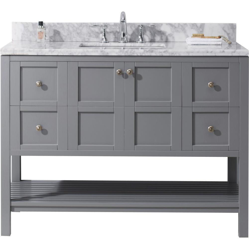 Virtu USA Winterfell 49 in W Bath Vanity in Gray with