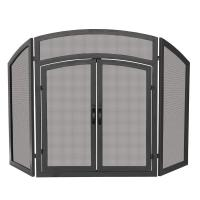 UniFlame Arch Top Black Wrought Iron 3-Panel Fireplace ...