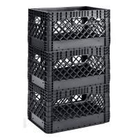 Black Stackable Stacking Plastic Milk Crate Bins 3 PACK ...